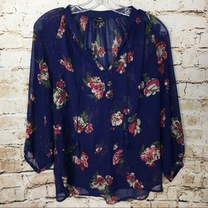 LUCKY BRAND Blue and Red Floral Peasant Blouse